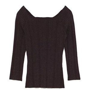 Rib off shoulder knit